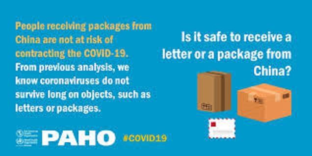 中国から送られた小包が危険とするデマが書かれたポスター