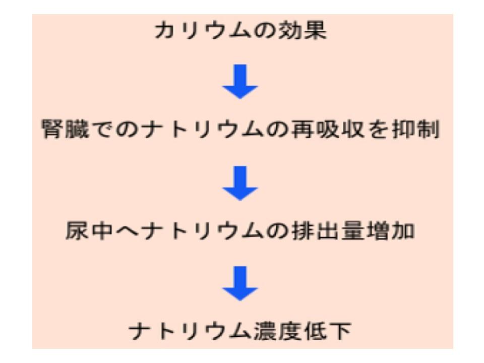 カリウムの摂取により体内でナトリウム不足になることを示す図