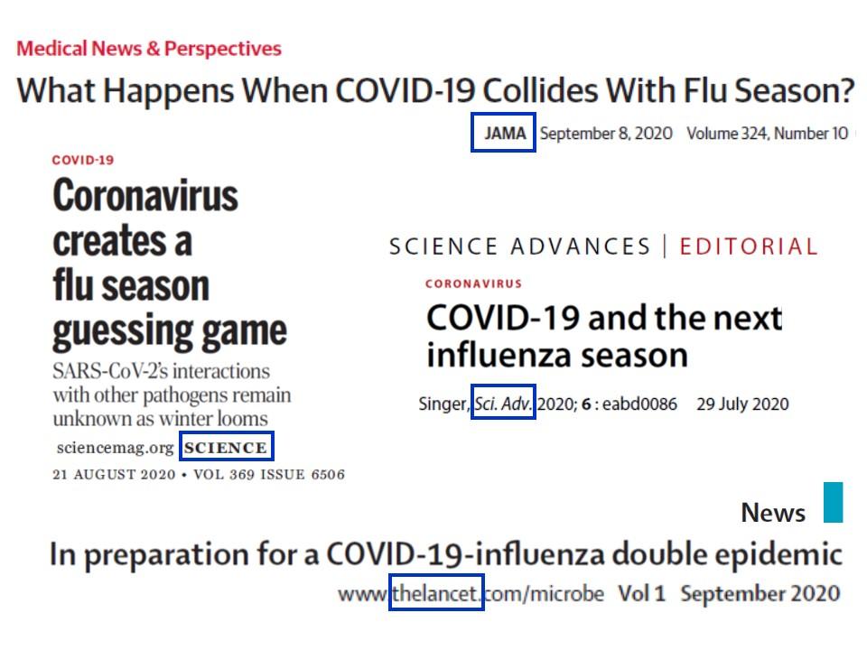 代表的な医学誌に掲載された 新型コロナウイルスとインフルエンザの関連の記事のタイトル