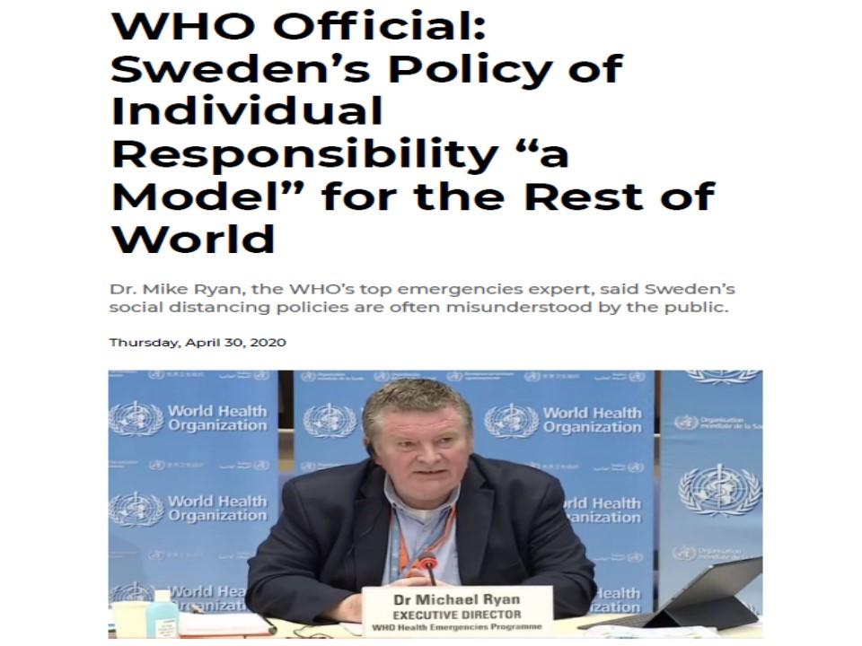 スウェーデンの対策を評価するWHOの担当者
