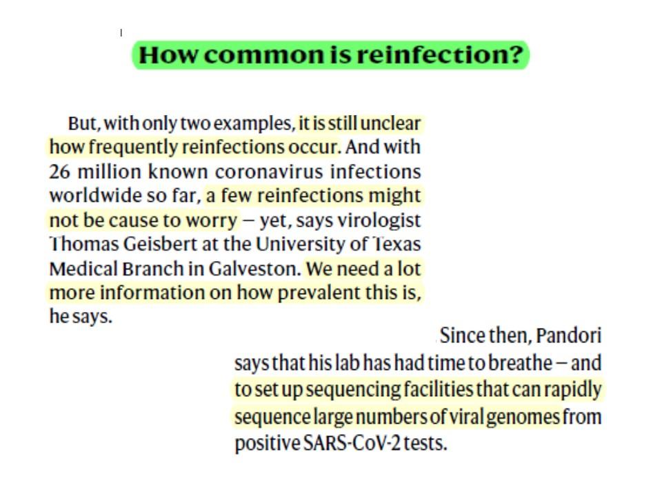 再感染はどれくらいの頻度で起こり得るのかという疑問について書かれた内容
