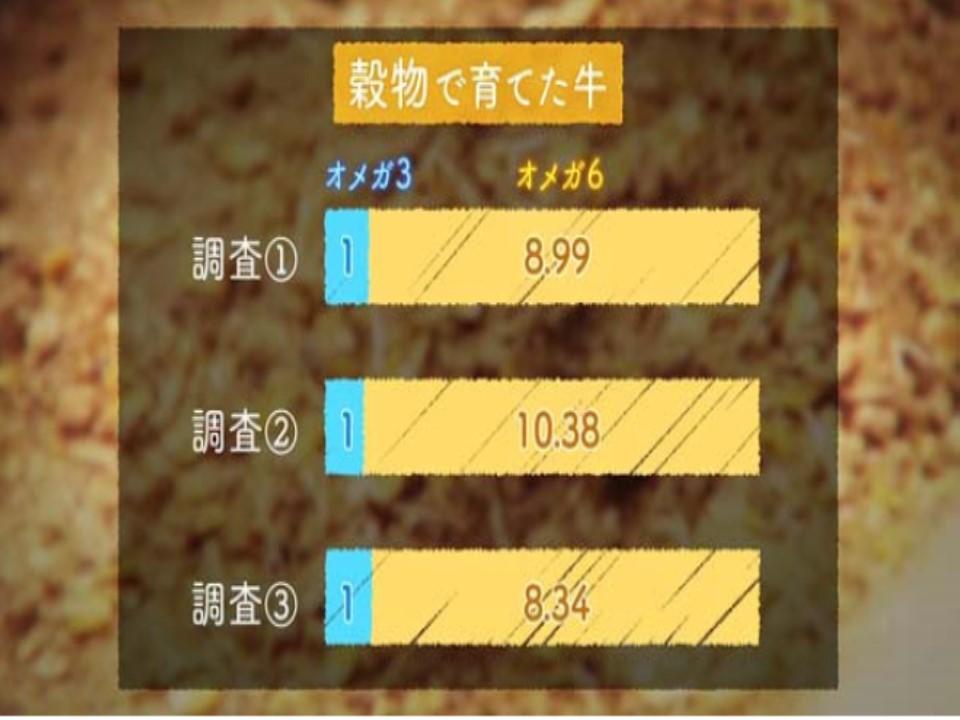 人工的なエサ・穀物で飼育されている牛のオメガ3/オメガ6脂肪酸比率