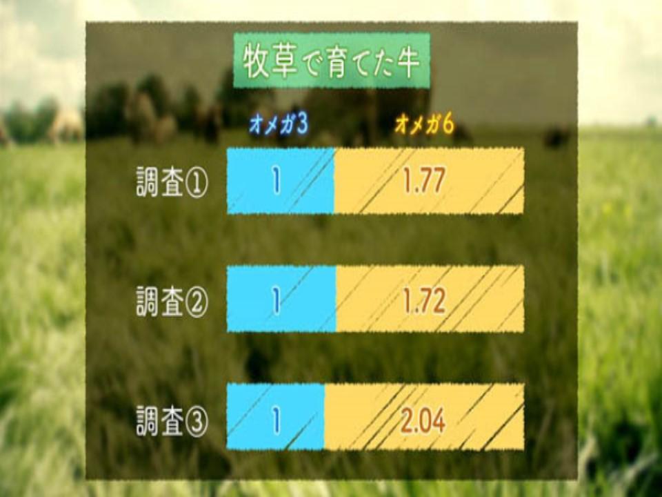 牧草で飼育されている牛のオメガ3/オメガ6脂肪酸比率