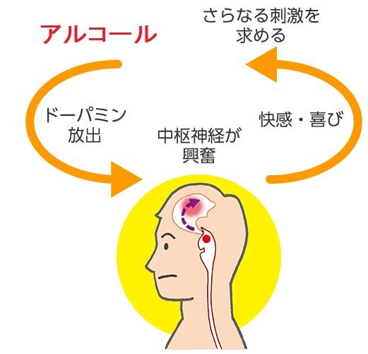 アルコールに脳を乗っ取られてしまった状態を説明する図