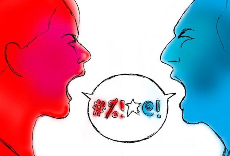 激しく言いあう両候補の支持者たち