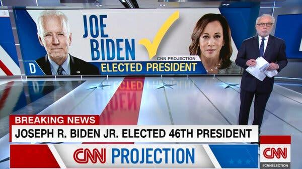 バイデンさんの勝利を伝えるテレビの画面