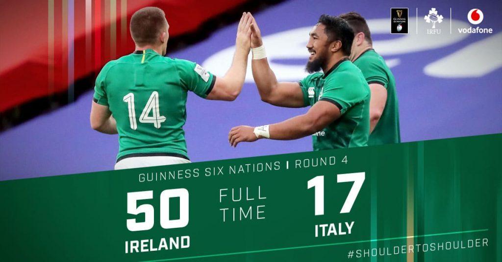 アイルランドの圧勝を示すボード