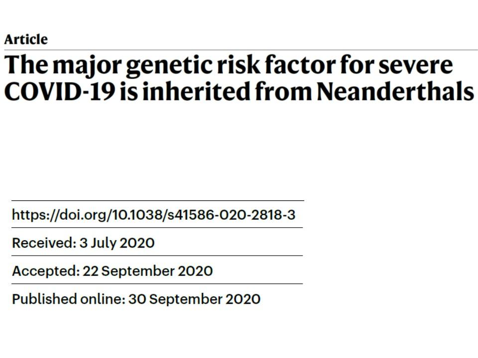 新型コロナ・重症化にはネアンデルタール人由来の遺伝子が関与する