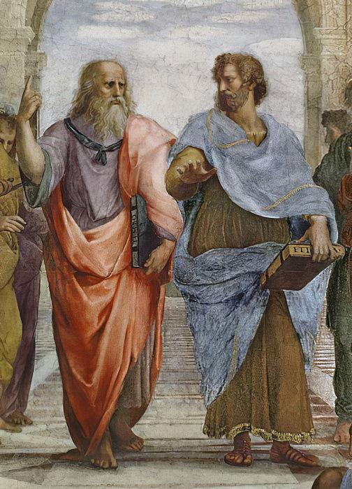議論するプラトンとアリストテレス
