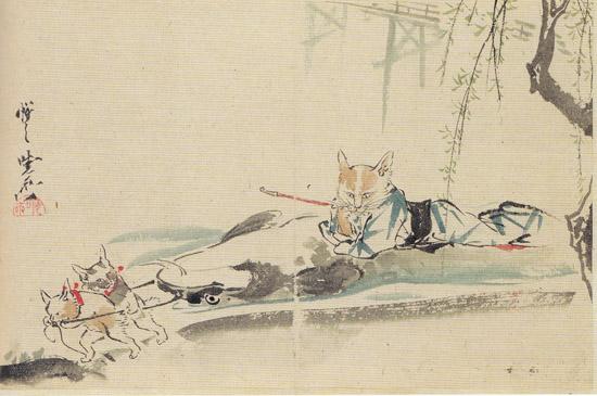 ネコとナマズが出てくる古い日本画