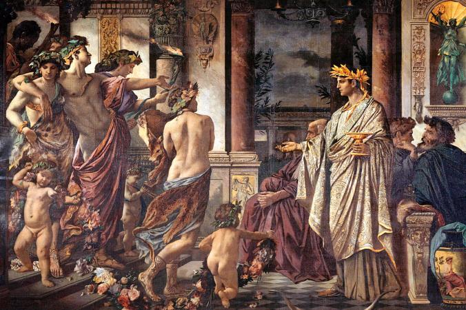 シンポジウムでワインを飲むギリシアの哲学者たち