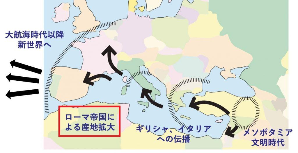 ローマ帝国の拡大とワイン造りの広まりを示した地図
