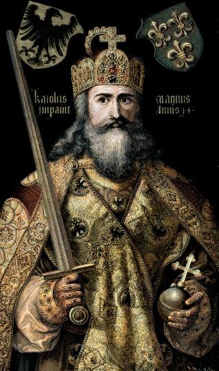 白い髭をたくわえたシャルルマーニュ帝