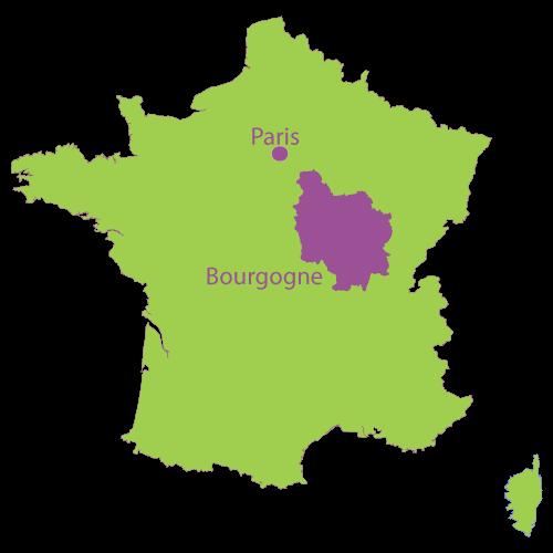 ブルゴーニュ地方の位置を示す地図