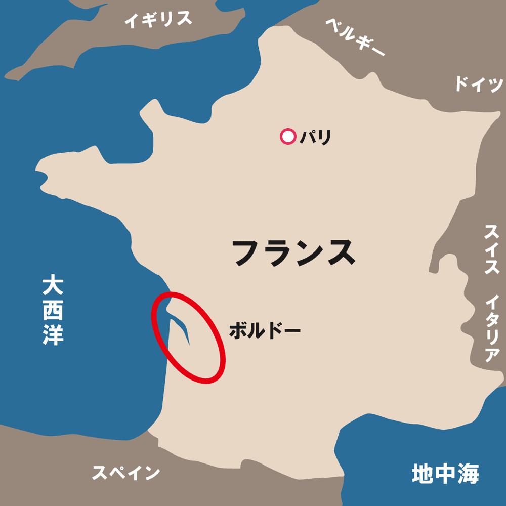 ボルドーの位置を示す地図