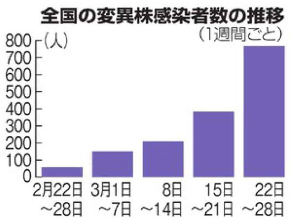 変異株感染者数は経時的に増加していることを示すグラフ