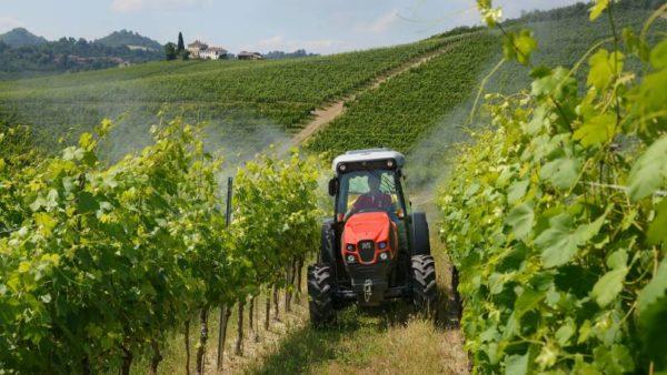 ワイン畑で稼働するトラクター
