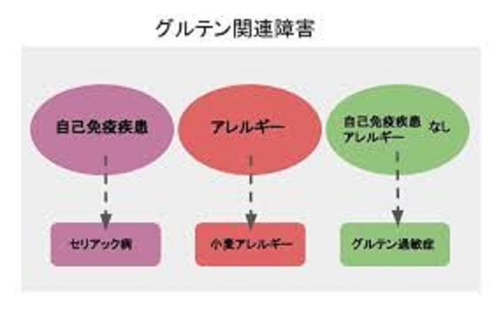 グルテン関連疾患の分類を示す図