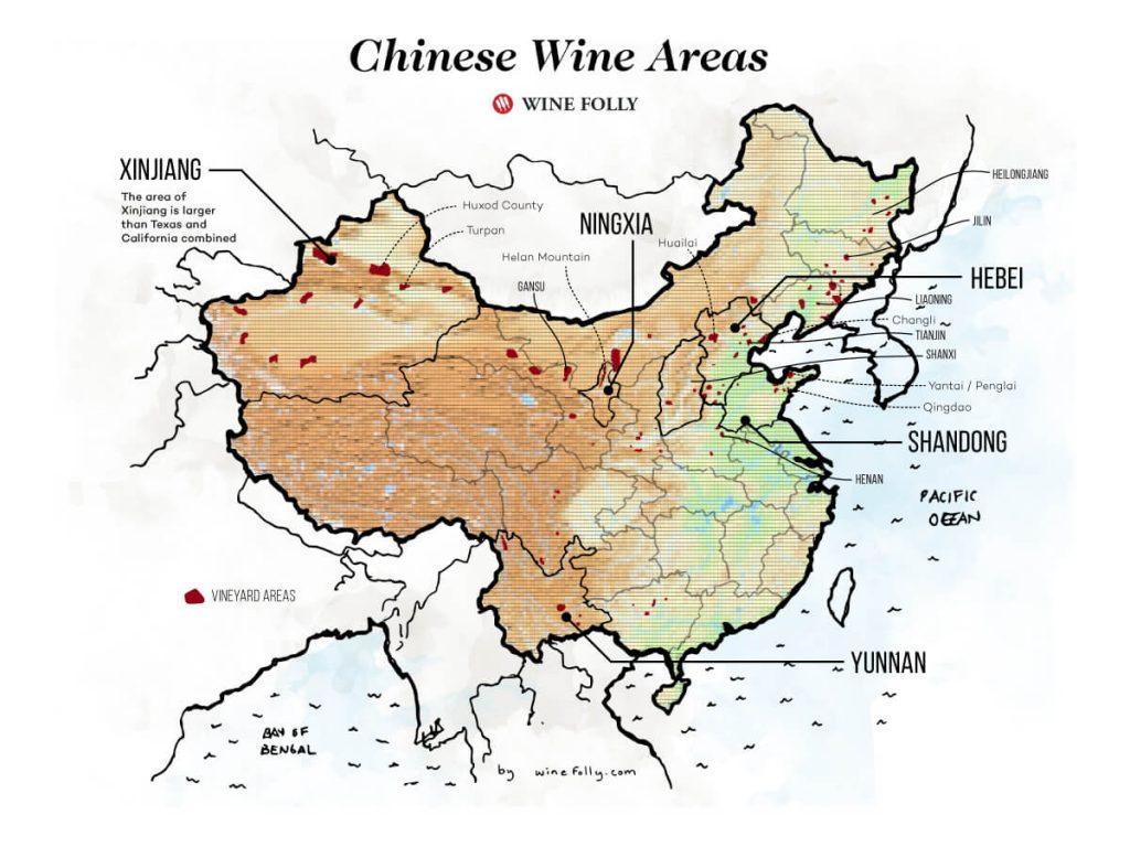 中国のブドウ栽培地を示した地図