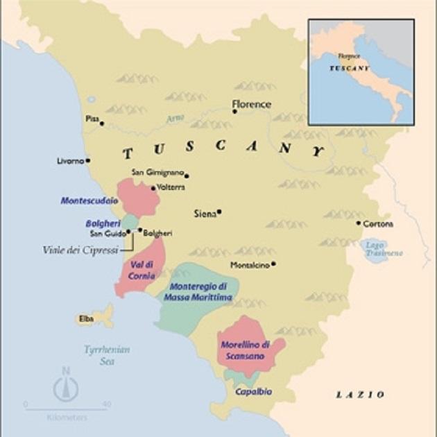 トスカーナ州の海岸部の地図