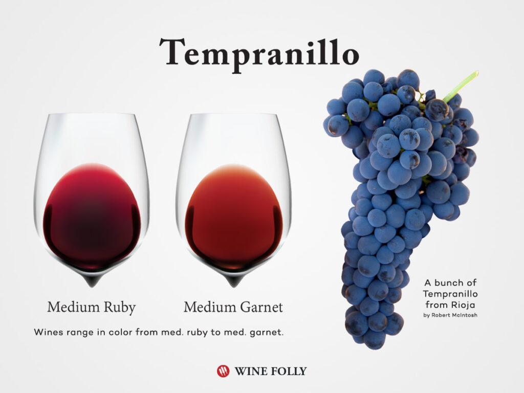 テンプラニーリョのでできたワインの色