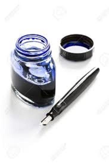 万年筆と青インク
