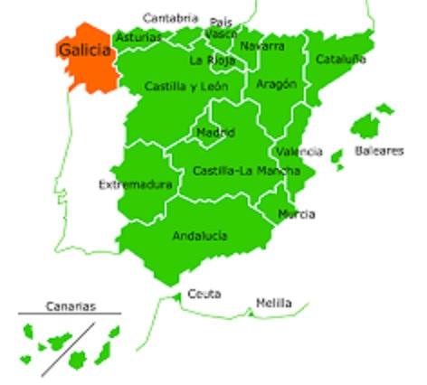 ガリシア地方の地図