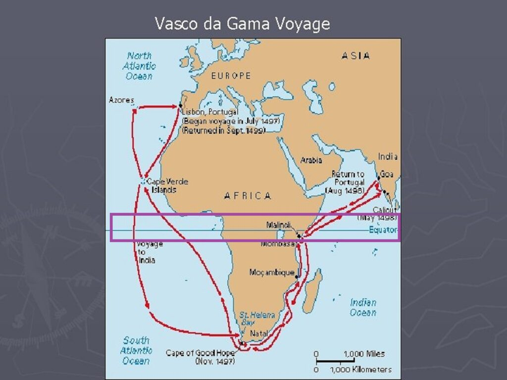 赤道を横切る航海ルートを示した地図