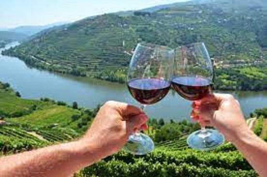 ワイナリーでドウロワインを楽しむ人たち