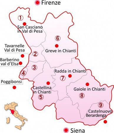 キャンティ地方の詳細を示す地図