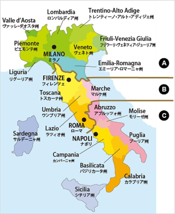 イタリア国内のブドウ栽培地を示した地図