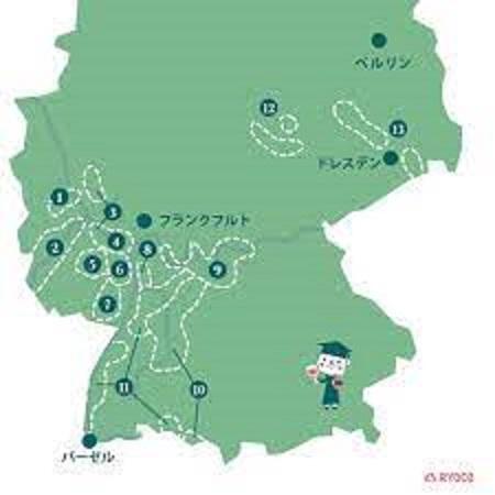 ドイツの主なワイン生産地を示す地図