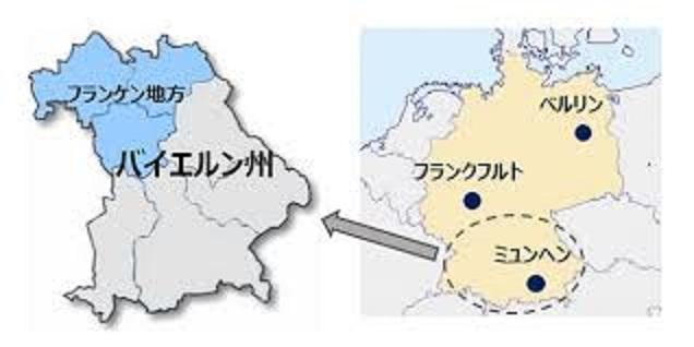 フランケン地方の位置を示す地図
