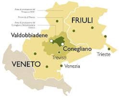 フリウリとヴェネト州の位置関係を示す地図