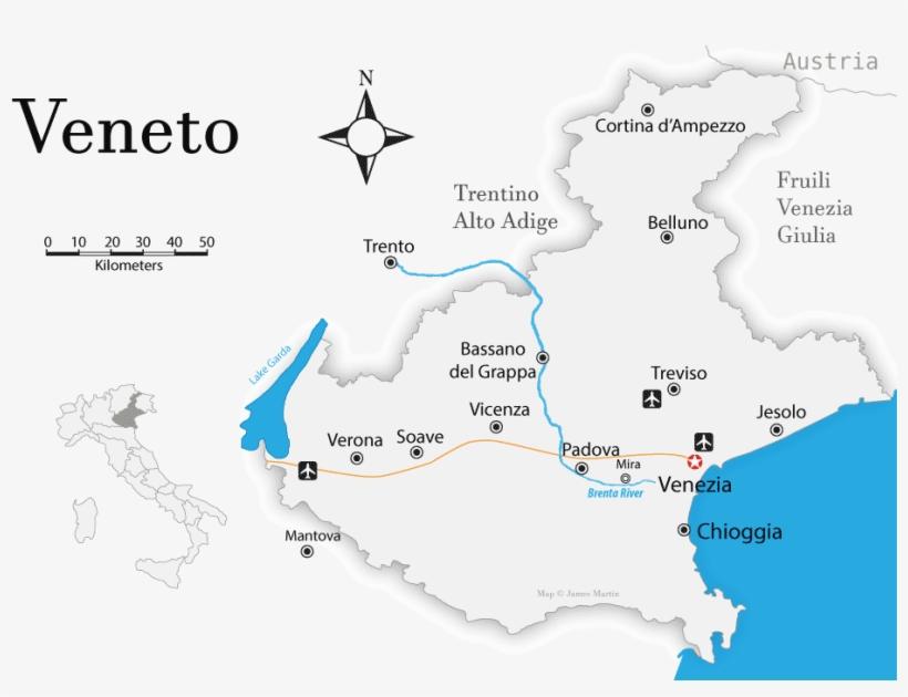 ヴェネト州の位置を示す地図