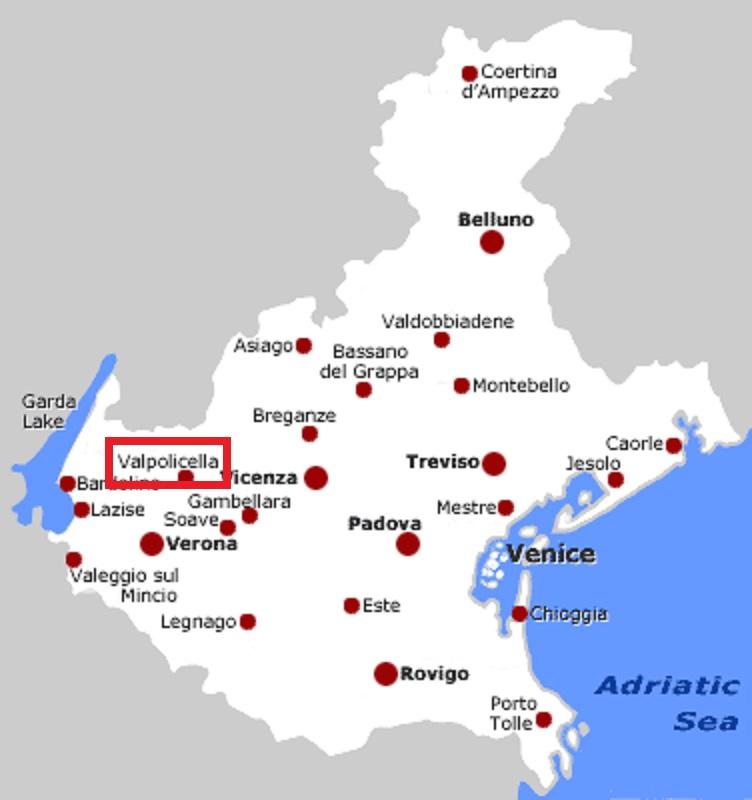 ヴァルポリチェッラ地区の位置を示す地図