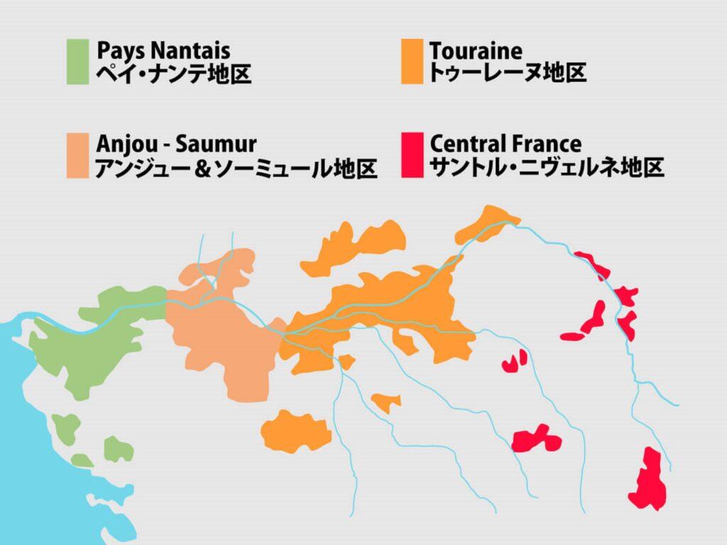 ロワール地方のAOCの場所を示す地図