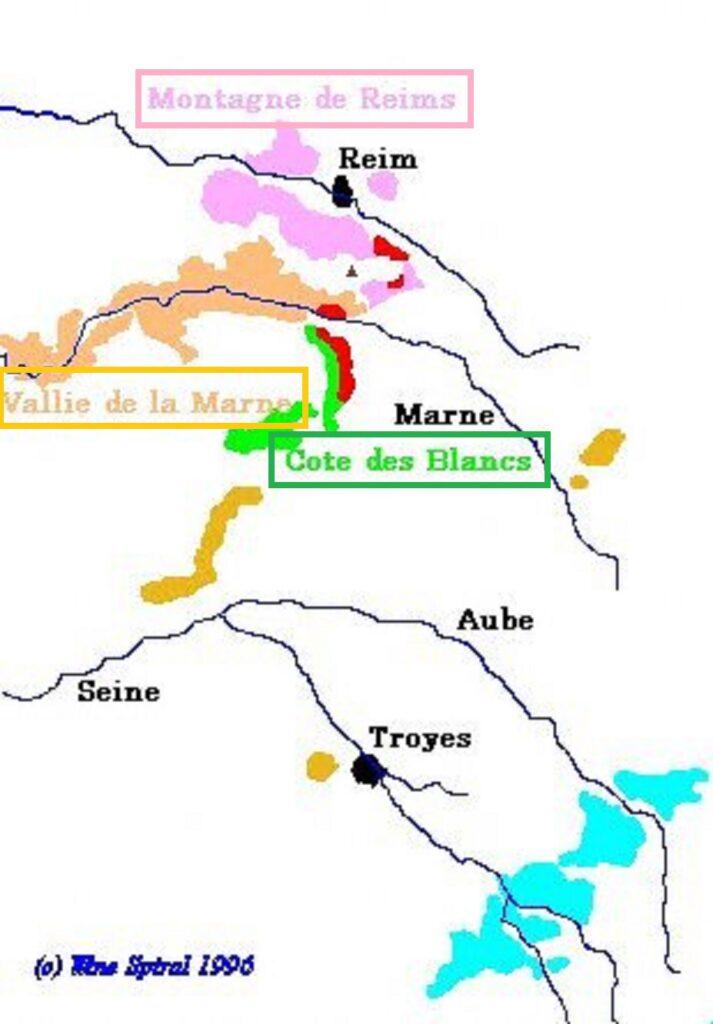 シャンパーニュが造られる地区を示した地図
