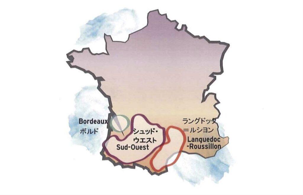 ボルドーとラングドック・ルーションとの位置関係を示す地図