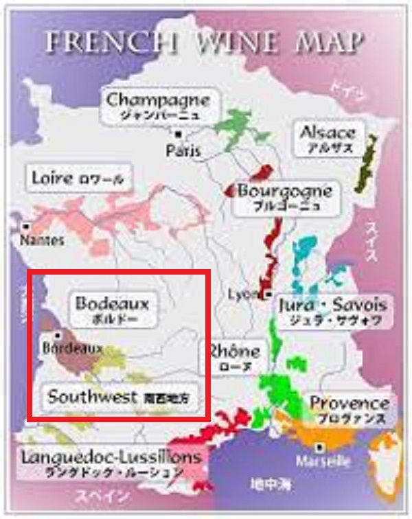 ボルドーに隣接することを示す地図