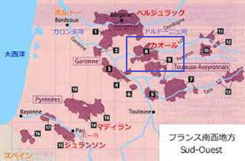 カオールの場所を示した地図